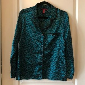 Betsey Johnson Silk Leopard Print Pajama Set